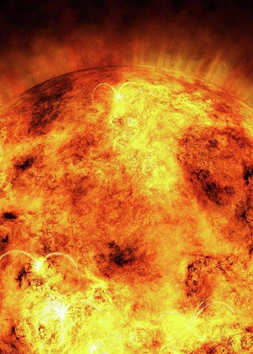 Sun Greeting Card featuring the digital art The Sun by Michael Tompsett