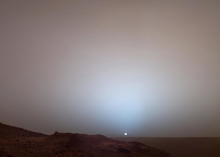 Outdoors Greeting Card featuring the photograph The Sun Setting Below The Rim Of Gusev by Nasa