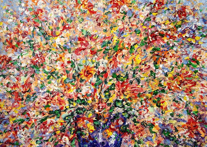 Flowers Greeting Card featuring the painting The Sunlight Flowers by Leonard Holland