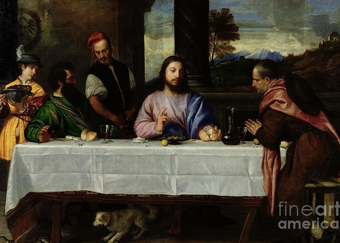 The Greeting Card featuring the painting The Supper At Emmaus by Titian
