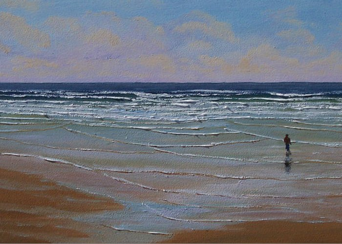 Seascape Greeting Card featuring the painting The Surf Walker by Frank Wilson