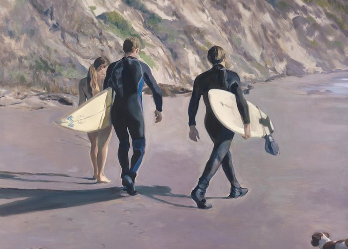 Surfers Greeting Card featuring the painting The Surfers by Merle Keller