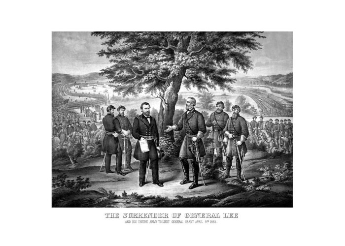 Civil War Greeting Card featuring the mixed media The Surrender Of General Lee by War Is Hell Store
