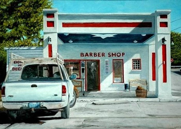 Barber Shop Greeting Card featuring the painting The Survivor by Robert Smith