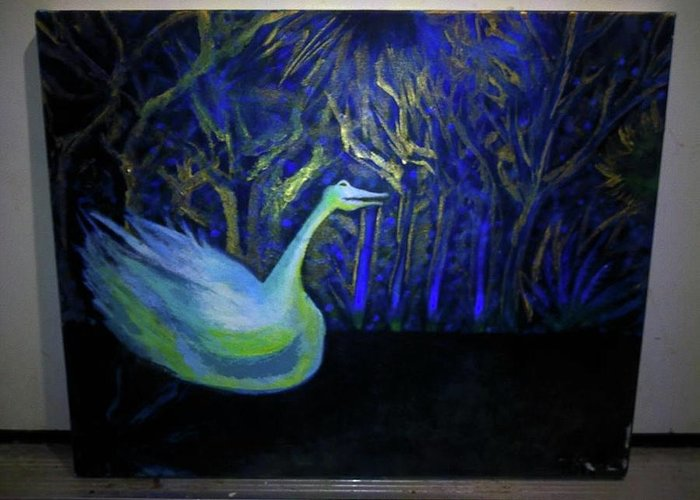 Acrylic Painting. Greeting Card featuring the painting The Swan by Adrien Roe
