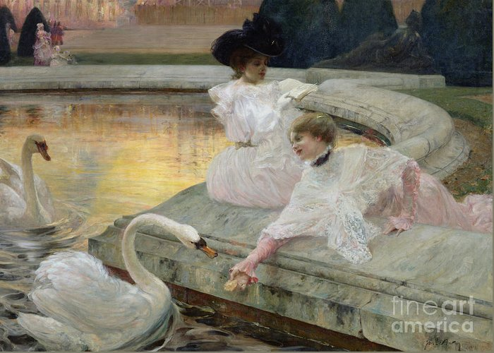 The Swans Greeting Card featuring the painting The Swans by Joseph Marius Avy