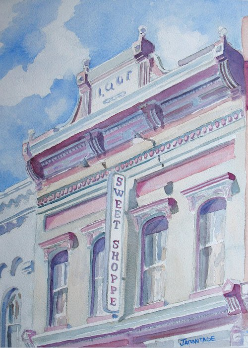 Shop Greeting Card featuring the painting The Sweet Shoppe by Jenny Armitage