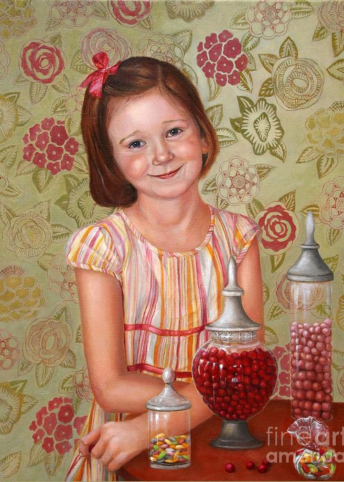 Children Portrait Greeting Card featuring the painting The Sweet Sneak by Enzie Shahmiri