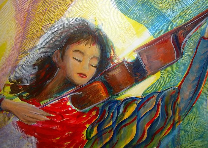 Violin Greeting Card featuring the painting The Sweetest Sounds by Regina Walsh