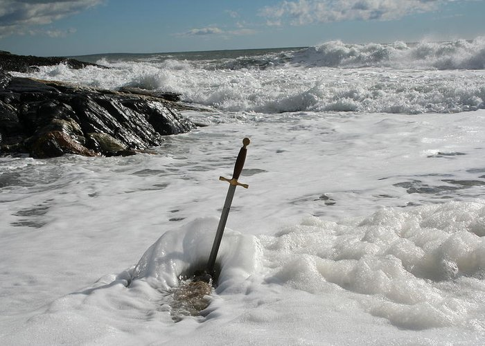 Seascape Greeting Card featuring the photograph The Sword 2 by Doug Mills