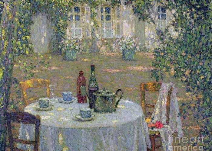 The Table In The Sun In The Garden Greeting Card featuring the painting The Table In The Sun In The Garden by Henri Le Sidaner