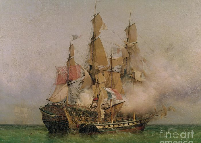 The Greeting Card featuring the painting The Taking Of The Kent by Ambroise Louis Garneray