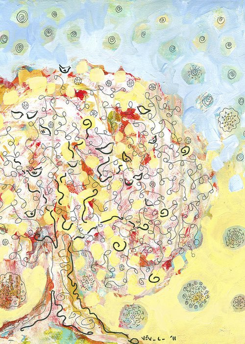 Tree Greeting Card featuring the painting The Talking Tree by Jennifer Lommers