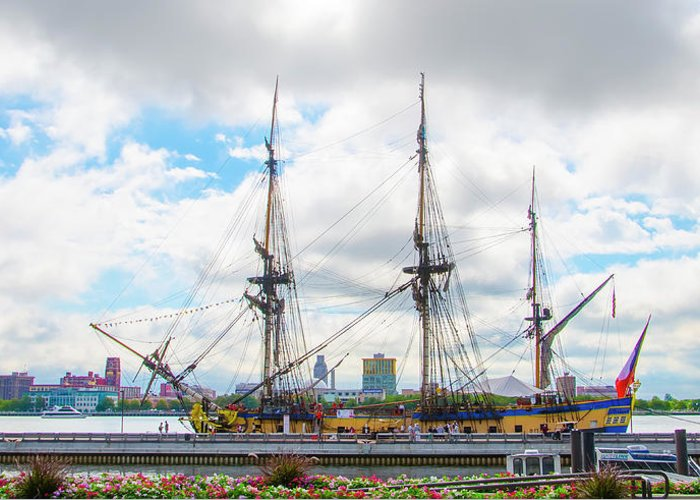 The Greeting Card featuring the photograph The Tall Ship Hermione - Philadelphia Pa by Bill Cannon