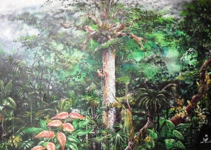 Tree Rainforest Painting Honeybee Wild Tribes Greeting Card featuring the painting The Tapang Tree by Muyang Kumundan