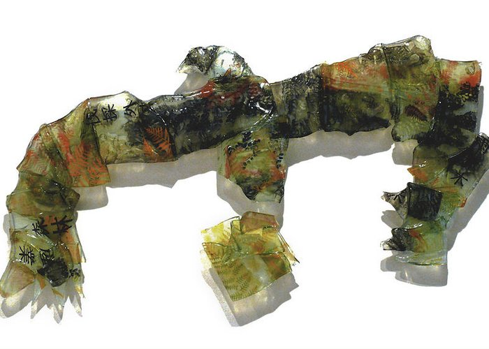 Glass Greeting Card featuring the sculpture The Tasmanian Landscape by Sarah King