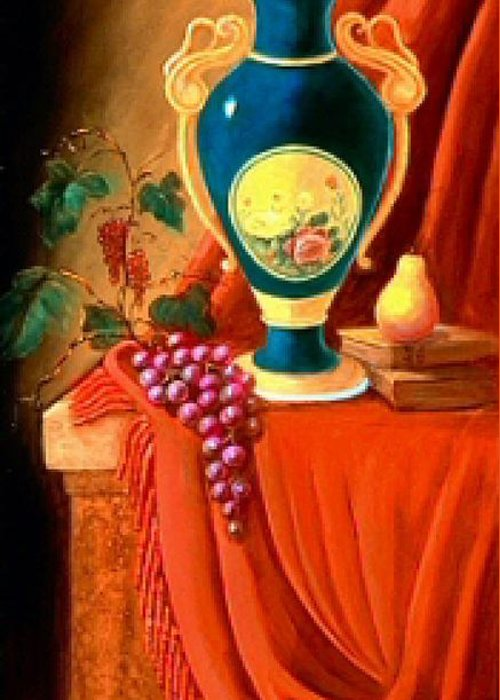 Still Life Greeting Card featuring the painting The Teal Vase On A Red Cloth by Jeanene Stein