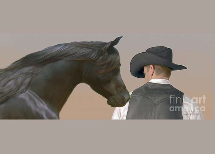 Cowboy Greeting Card featuring the painting The Team by Corey Ford