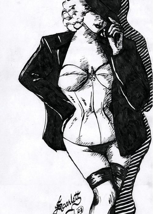 Dancer Greeting Card featuring the drawing The Tease by Scarlett Royal