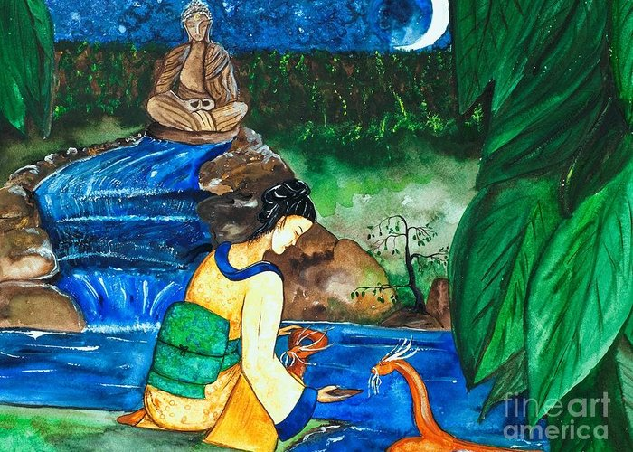 Temple Greeting Card featuring the painting The Temple Garden by Helen Pattskyn