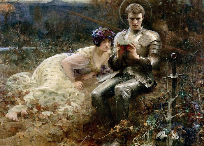The Temptation Of Sir Percival Greeting Card featuring the painting The Temptation Of Sir Percival by Arthur Hacker