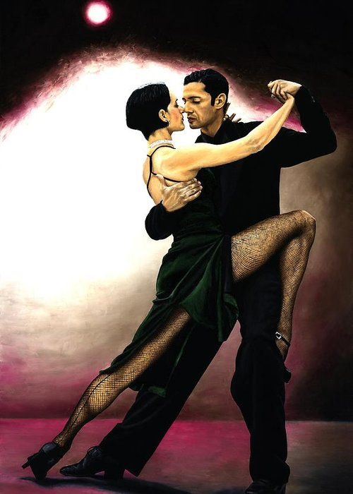 Tango Greeting Card featuring the painting The Temptation of Tango by Richard Young