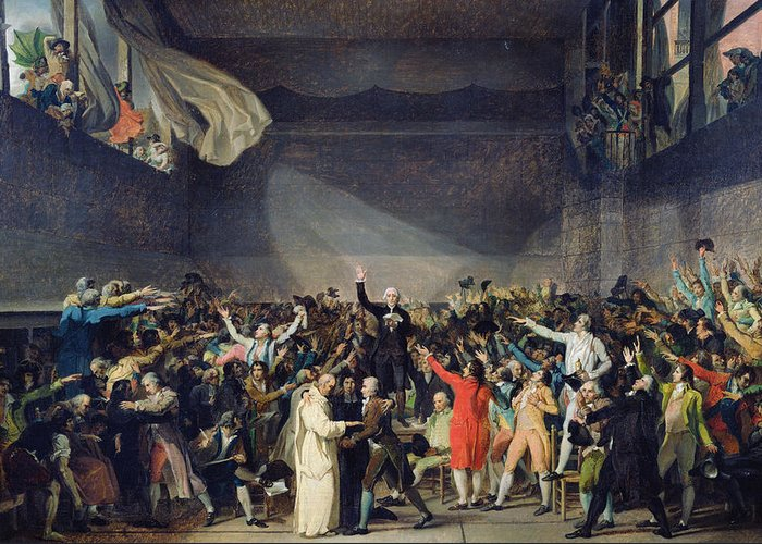 The Greeting Card featuring the painting The Tennis Court Oath by Jacques Louis David