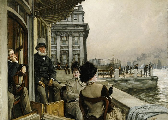 Portrait Greeting Card featuring the painting The Terrace Of The Trafalgar Tavern Greenwich by James Jacques Joseph Tissot