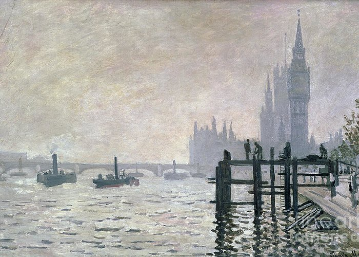 The Greeting Card featuring the painting The Thames Below Westminster by Claude Monet