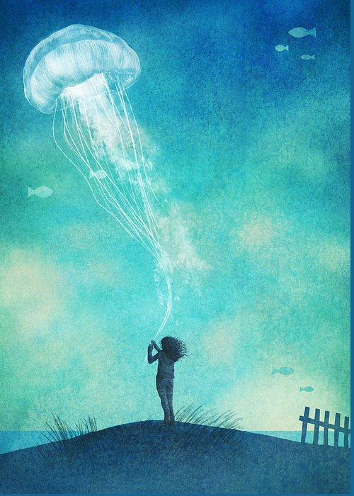 Floating Girl Drawings Greeting Cards