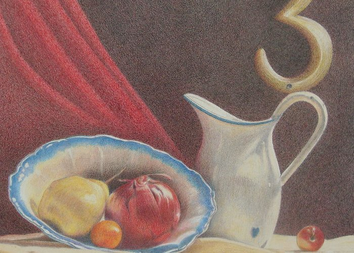 Still Life Greeting Card featuring the painting The Third Element by Bonnie Haversat