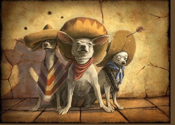 Dogs Greeting Card featuring the painting The Three Banditos by Sean ODaniels