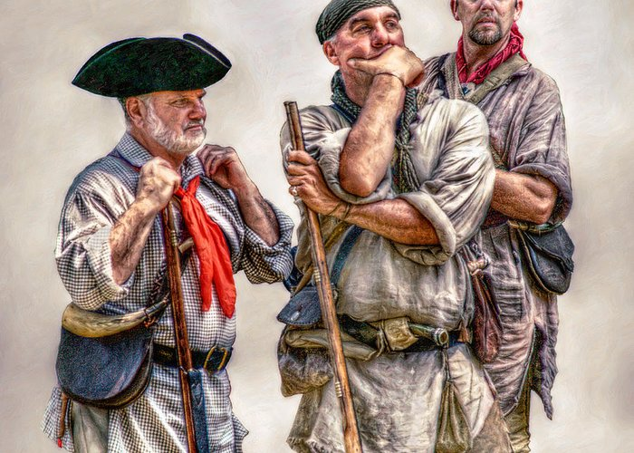Frontiersmen Greeting Card featuring the digital art The Three Frontiersmen by Randy Steele