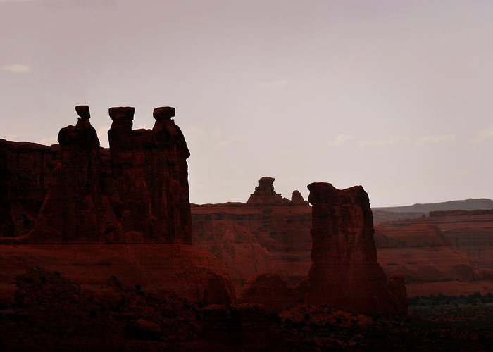 Landscape Greeting Card featuring the photograph The Three Gossips Arches National Park Utah by Christine Till