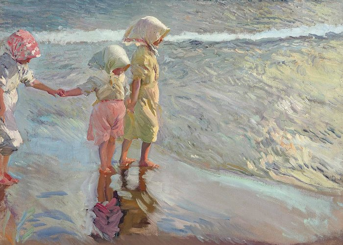 19th Century Art Greeting Card featuring the painting The Three Sisters On The Beach by Joaquin Sorolla