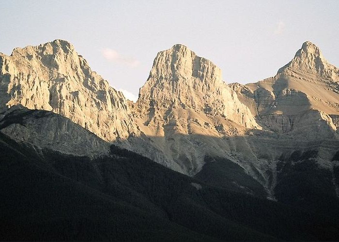 Rocky Mountains Greeting Card featuring the photograph The Three Sisters of the Rockies by Tiffany Vest
