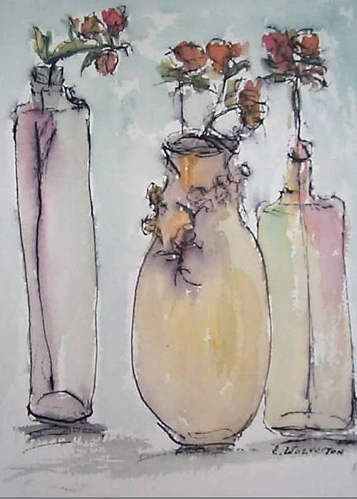 Realism Greeting Card featuring the painting The Three Vases by Edward Wolverton