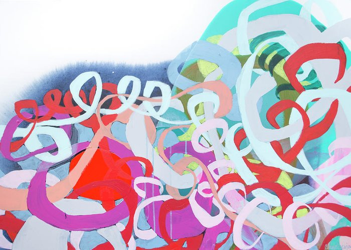Abstract Greeting Card featuring the painting The Thrill Of It All by Claire Desjardins