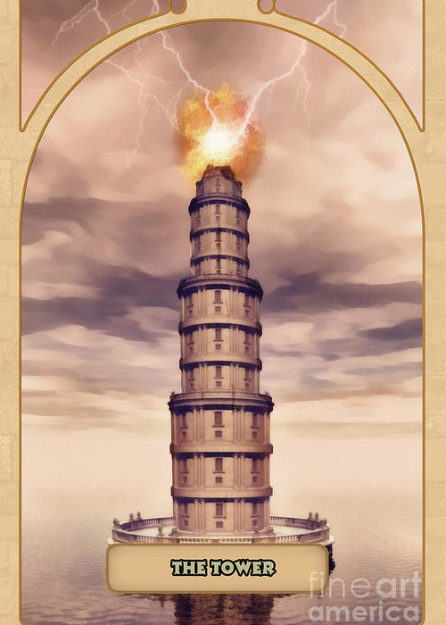 Magic Greeting Card featuring the digital art The Tower by John Edwards