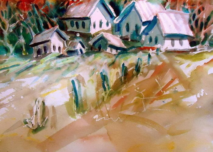 Old Buildings Greeting Card featuring the painting The Town On Shaky Ground by Steven Holder