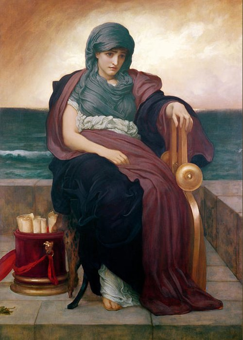 Tragic Greeting Card featuring the painting The Tragic Poetess by Frederic Leighton