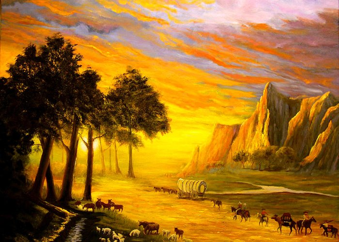 Landscape Greeting Card featuring the painting The Trail To Oregon by Connie Tom