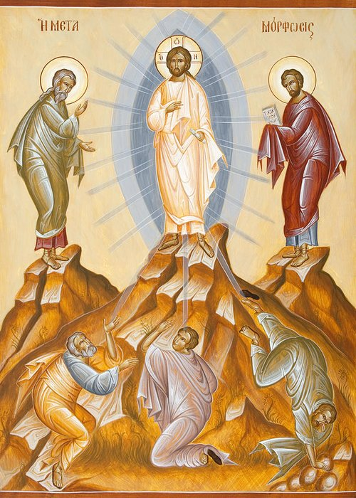 Transfiguration Greeting Card featuring the painting The Transfiguration Of Christ by Julia Bridget Hayes