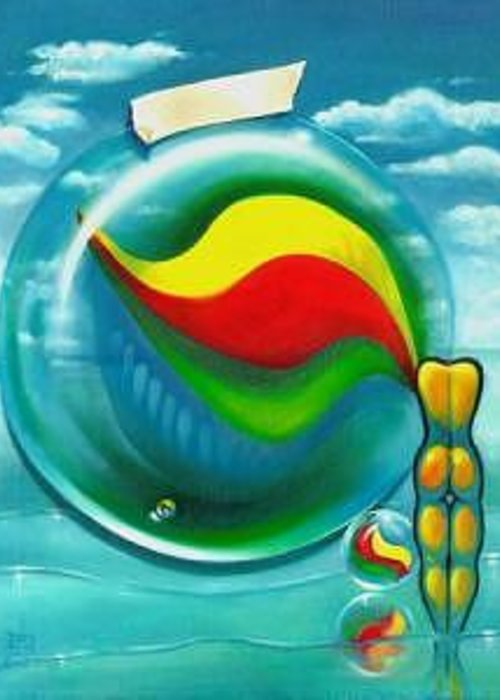 Marbles Greeting Card featuring the painting The Transparency Of A Tsunami On The Verge Of Destruction by Roger Calle
