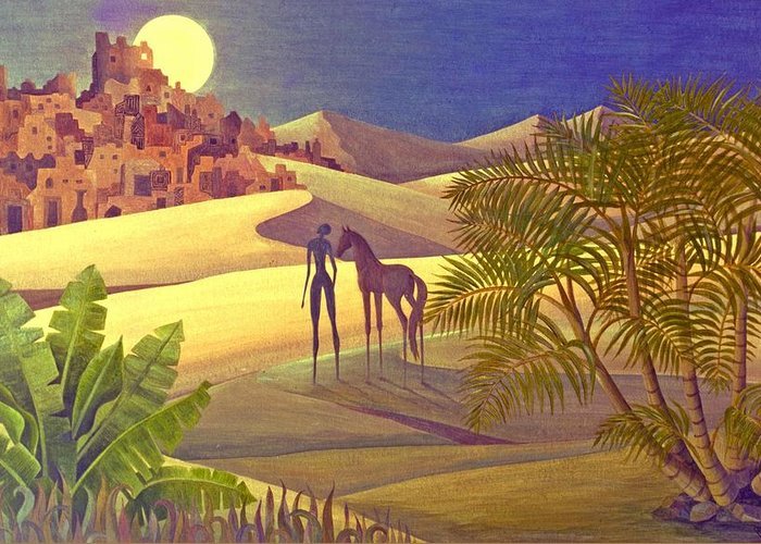 Desert Moon Ancient City Horse Quest Jungle Mystery Greeting Card featuring the painting The Traveller by Jennifer Baird
