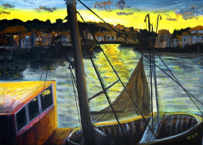 Seascape Greeting Card featuring the painting The Trawler by Aymeric NOA