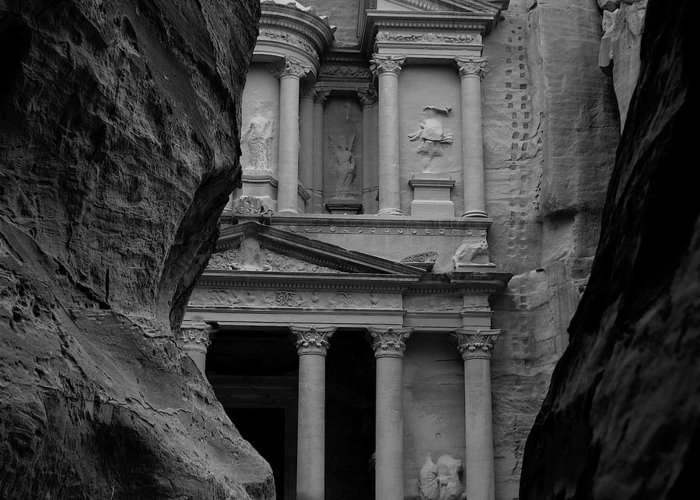 Jordan Greeting Card featuring the digital art The Treasury - Petra by Peter Dorrell