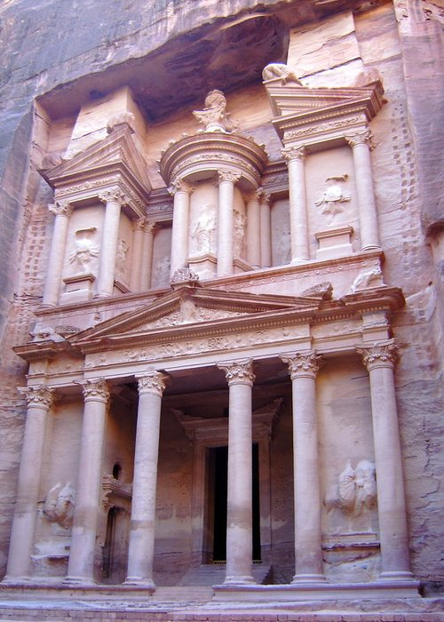 Petra Greeting Card featuring the photograph The Treasury by Larry Underwood
