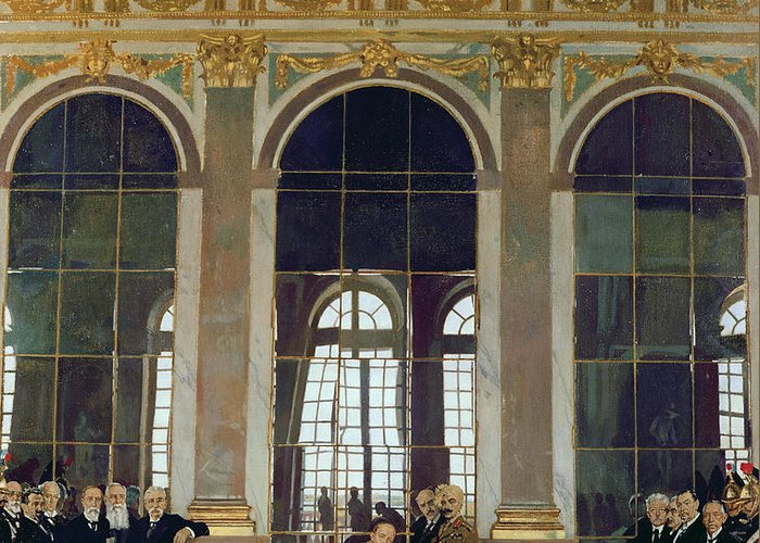 The Treaty Of Versailles Greeting Card featuring the painting The Treaty Of Versailles by Sir William Orpen