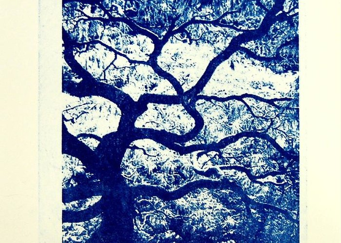 Tree Greeting Card featuring the print The Tree by DeLa Hayes Coward